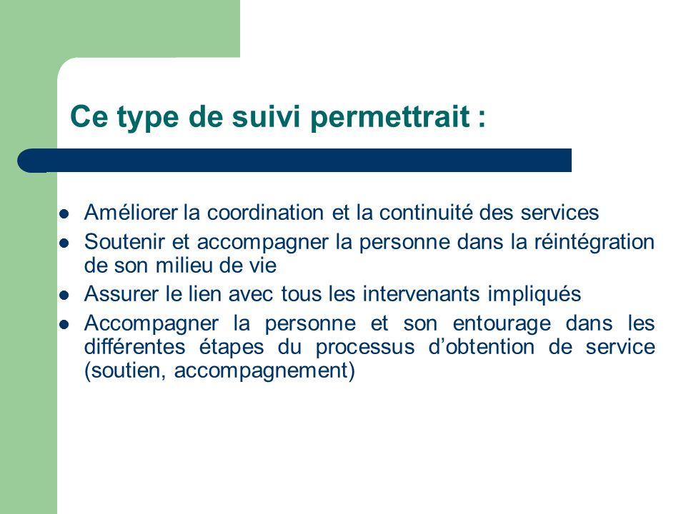 Ce type de suivi permettrait : Améliorer la coordination et la continuité des services Soutenir et accompagner la personne dans la réintégration de so