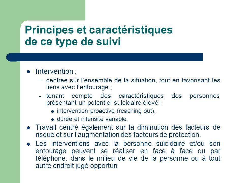 Principes et caractéristiques de ce type de suivi Intervention : – centrée sur lensemble de la situation, tout en favorisant les liens avec lentourage