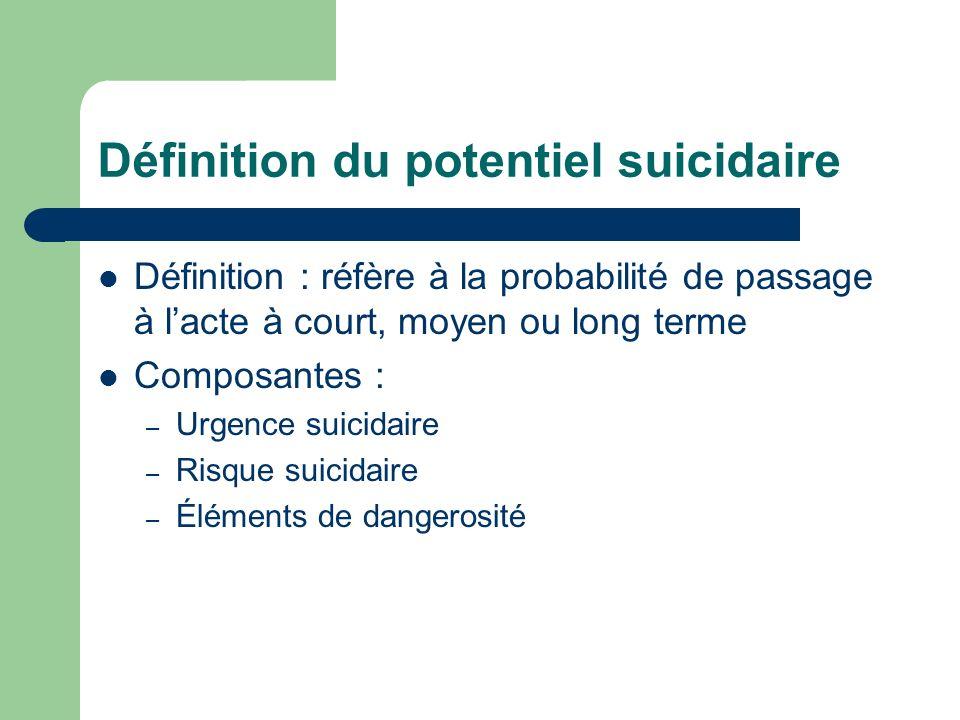 Définition du potentiel suicidaire Définition : réfère à la probabilité de passage à lacte à court, moyen ou long terme Composantes : – Urgence suicid