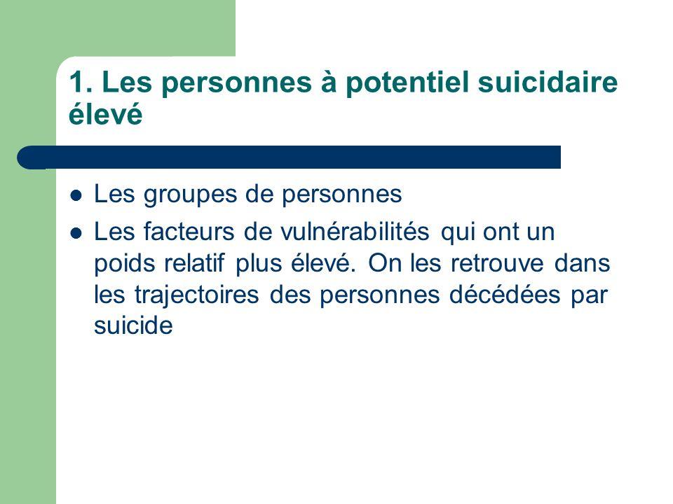 1. Les personnes à potentiel suicidaire élevé Les groupes de personnes Les facteurs de vulnérabilités qui ont un poids relatif plus élevé. On les retr