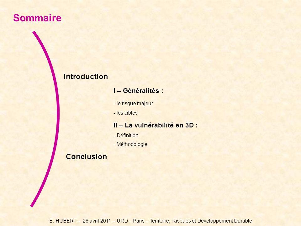 Introduction I – Généralités : - le risque majeur - les cibles II – La vulnérabilité en 3D : - Définition - Méthodologie Conclusion Sommaire E.