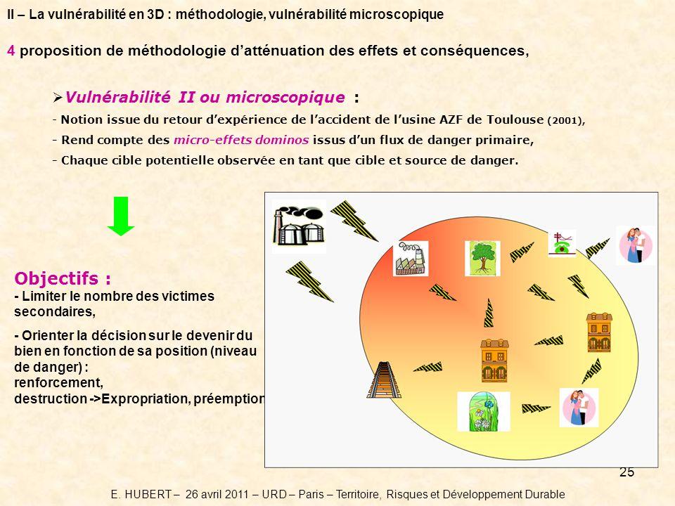 25 Vulnérabilité II ou microscopique : - Notion issue du retour dexpérience de laccident de lusine AZF de Toulouse (2001), - Rend compte des micro-effets dominos issus dun flux de danger primaire, - Chaque cible potentielle observée en tant que cible et source de danger.