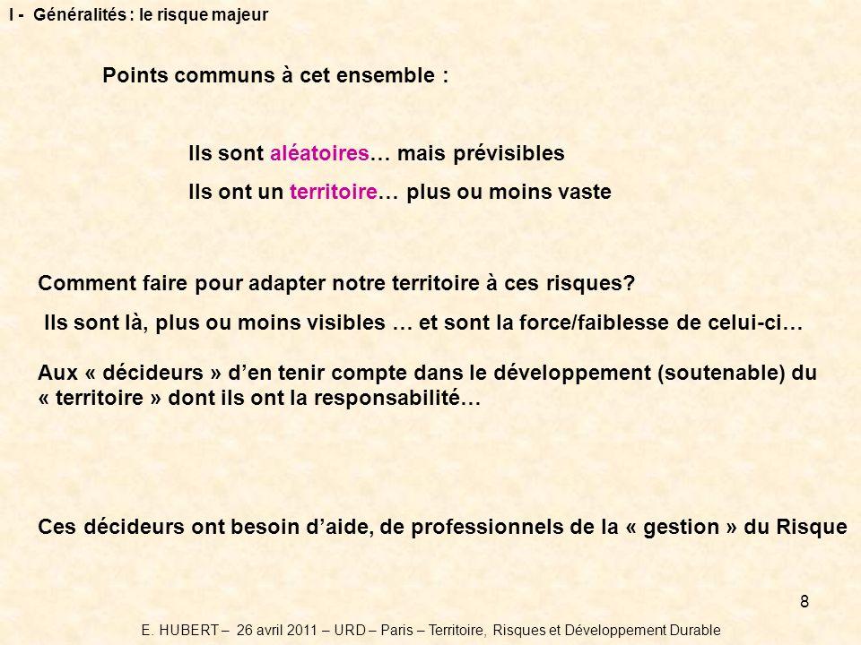 9 I - Généralités : les cibles Ces décideurs ont besoin daide, de professionnel de la « gestion » du risque Territoire E.