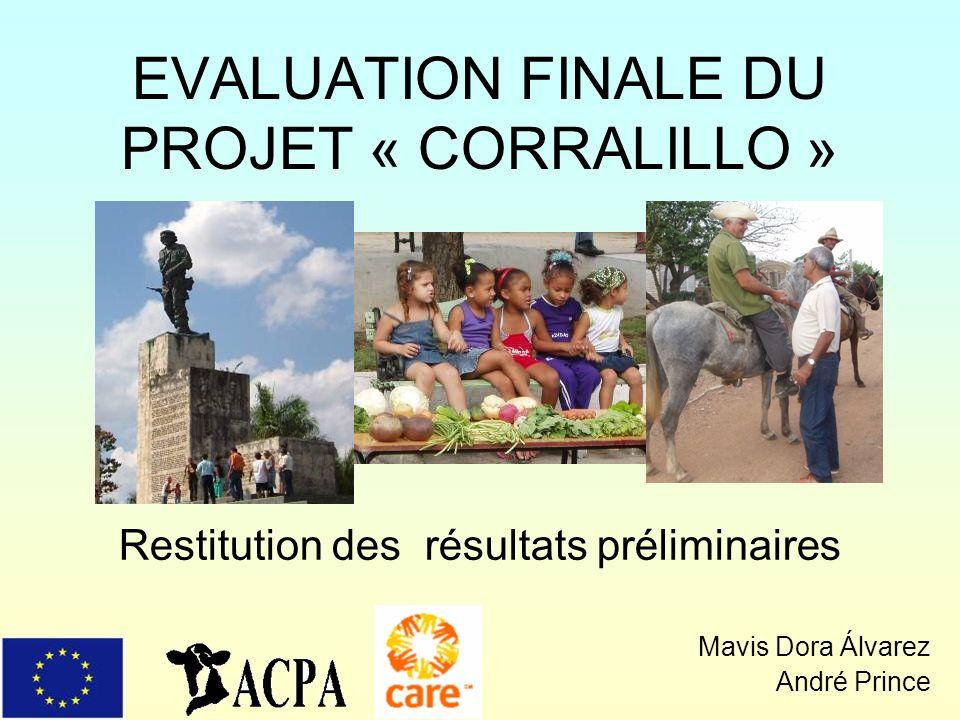 EVALUATION FINALE DU PROJET « CORRALILLO » Restitution des résultats préliminaires Mavis Dora Álvarez André Prince