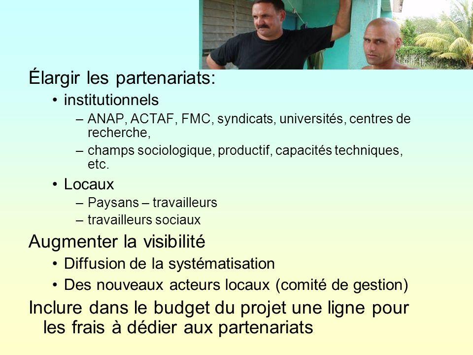 Élargir les partenariats: institutionnels –ANAP, ACTAF, FMC, syndicats, universités, centres de recherche, –champs sociologique, productif, capacités techniques, etc.