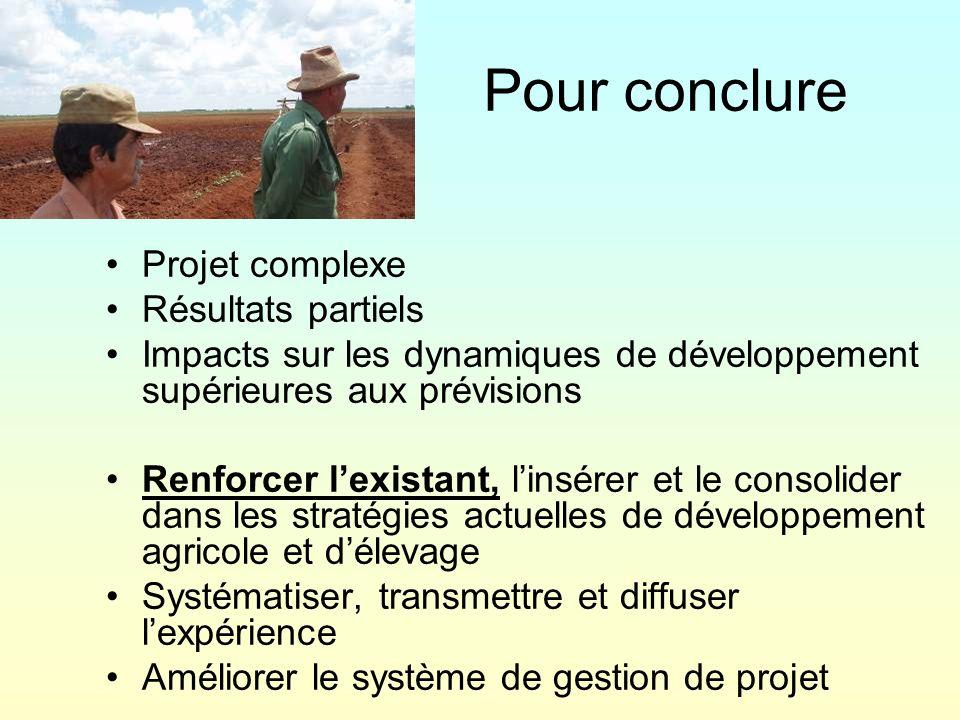 Pour conclure Projet complexe Résultats partiels Impacts sur les dynamiques de développement supérieures aux prévisions Renforcer lexistant, linsérer et le consolider dans les stratégies actuelles de développement agricole et délevage Systématiser, transmettre et diffuser lexpérience Améliorer le système de gestion de projet