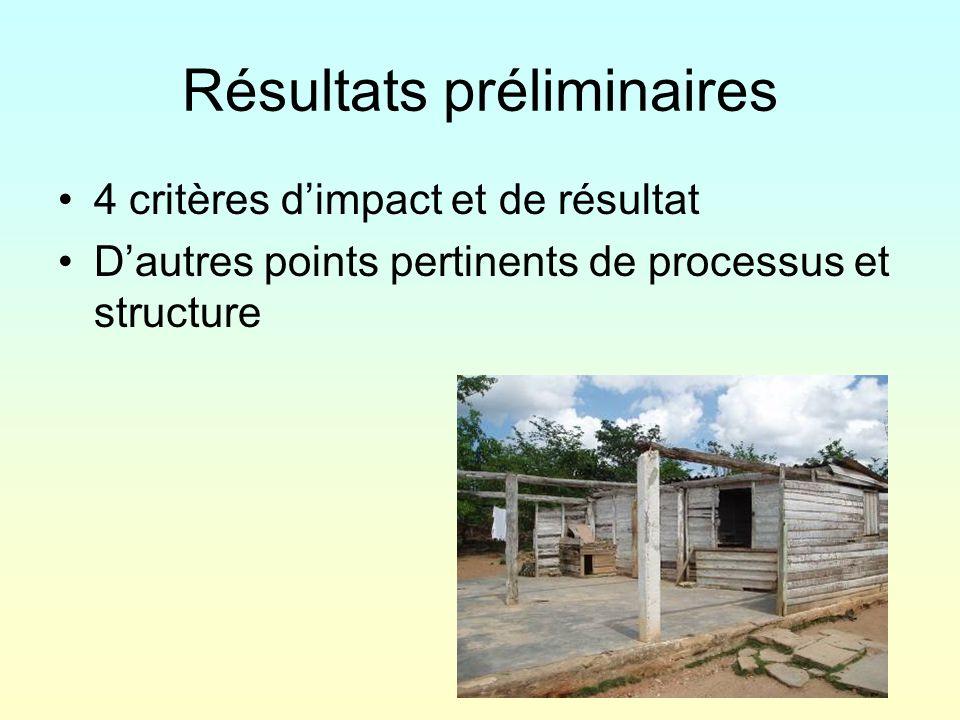 Résultats préliminaires 4 critères dimpact et de résultat Dautres points pertinents de processus et structure