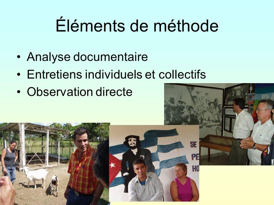 Éléments de méthode Analyse documentaire Entretiens individuels et collectifs Observation directe