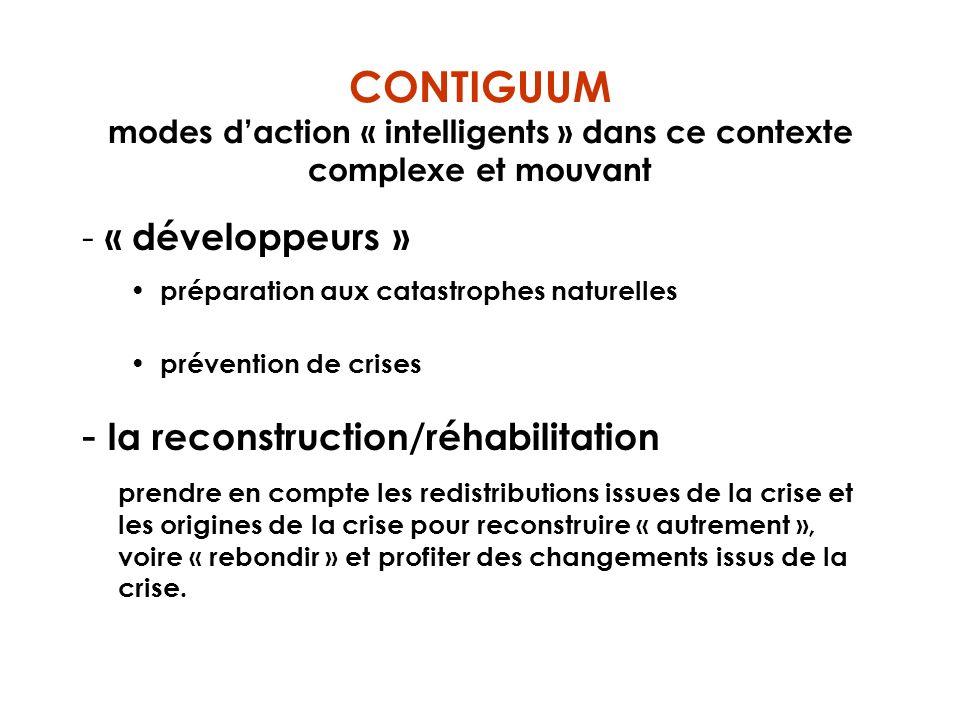 CONTIGUUM modes daction « intelligents » dans ce contexte complexe et mouvant - « développeurs » préparation aux catastrophes naturelles prévention de
