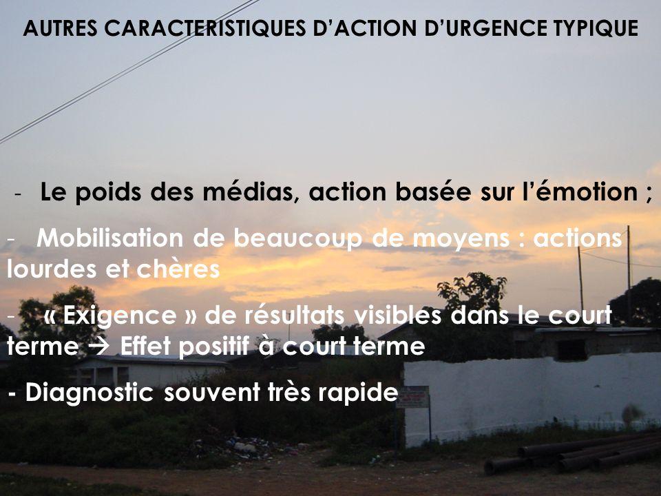 AUTRES CARACTERISTIQUES DACTION DURGENCE TYPIQUE - Le poids des médias, action basée sur lémotion ; - Mobilisation de beaucoup de moyens : actions lou