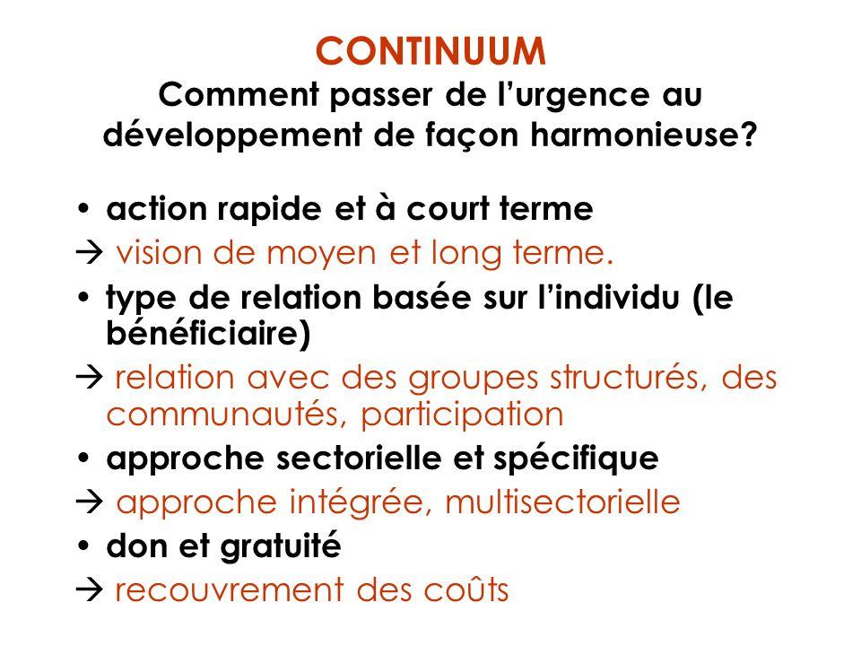 CONTINUUM Comment passer de lurgence au développement de façon harmonieuse? action rapide et à court terme vision de moyen et long terme. type de rela