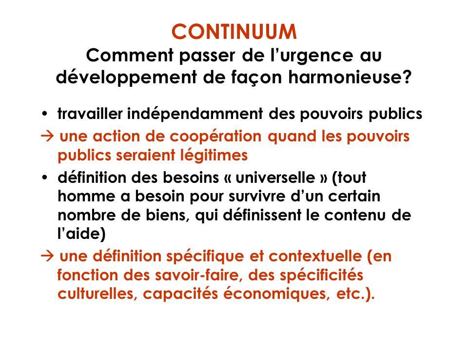 CONTINUUM Comment passer de lurgence au développement de façon harmonieuse? travailler indépendamment des pouvoirs publics une action de coopération q