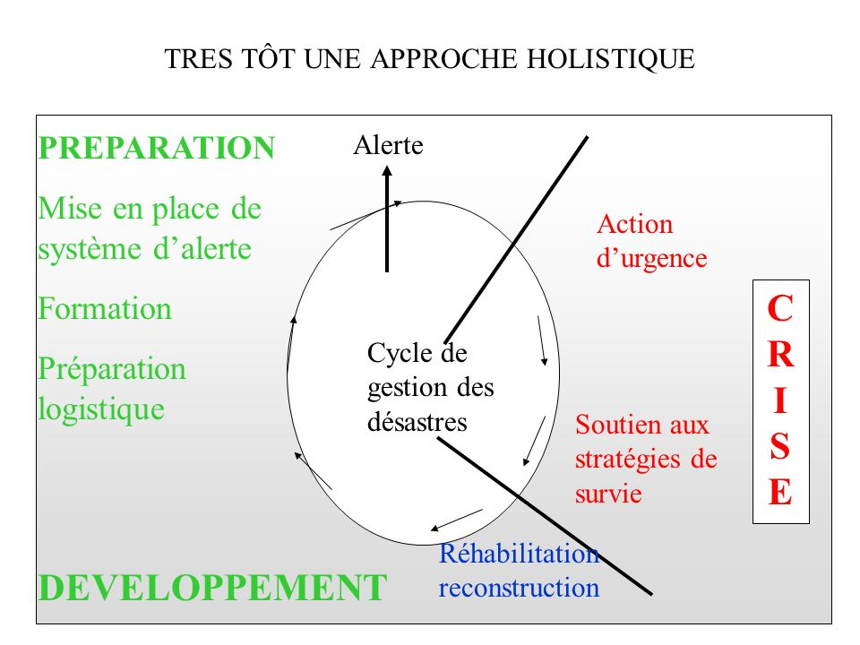 TRES TÔT UNE APPROCHE HOLISTIQUE CYCLE DE GESTION DES DESASTRES CRISECRISE Alerte Action durgence Soutien aux stratégies de survie Réhabilitation reco