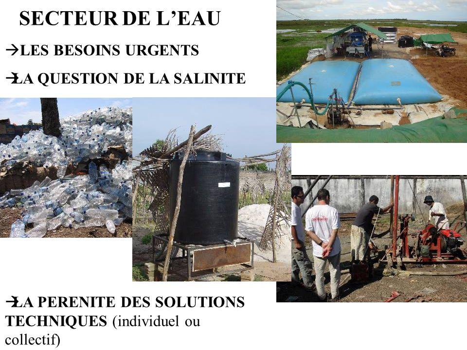 SECTEUR DE LEAU LES BESOINS URGENTS LA QUESTION DE LA SALINITE LA PERENITE DES SOLUTIONS TECHNIQUES (individuel ou collectif)