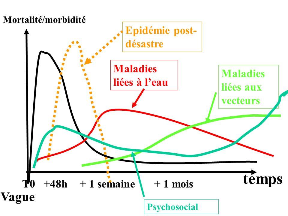 Mortalité/morbidité temps T0+48h+ 1 semaine Vague Maladies liées à leau Maladies liées aux vecteurs + 1 mois Epidémie post- désastre Psychosocial