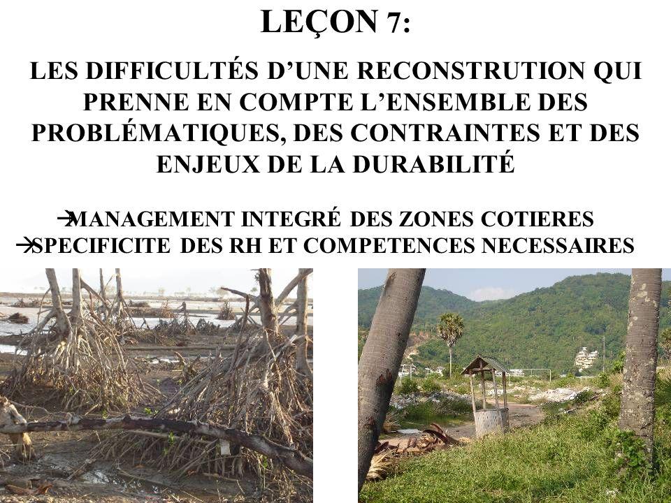 LEÇON 7: LES DIFFICULTÉS DUNE RECONSTRUTION QUI PRENNE EN COMPTE LENSEMBLE DES PROBLÉMATIQUES, DES CONTRAINTES ET DES ENJEUX DE LA DURABILITÉ MANAGEME