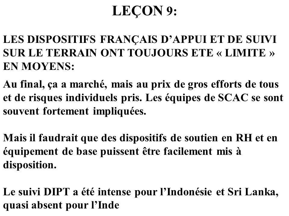 LEÇON 9: LES DISPOSITIFS FRANÇAIS DAPPUI ET DE SUIVI SUR LE TERRAIN ONT TOUJOURS ETE « LIMITE » EN MOYENS: Au final, ça a marché, mais au prix de gros