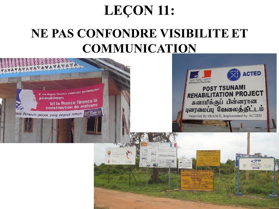LEÇON 11: NE PAS CONFONDRE VISIBILITE ET COMMUNICATION