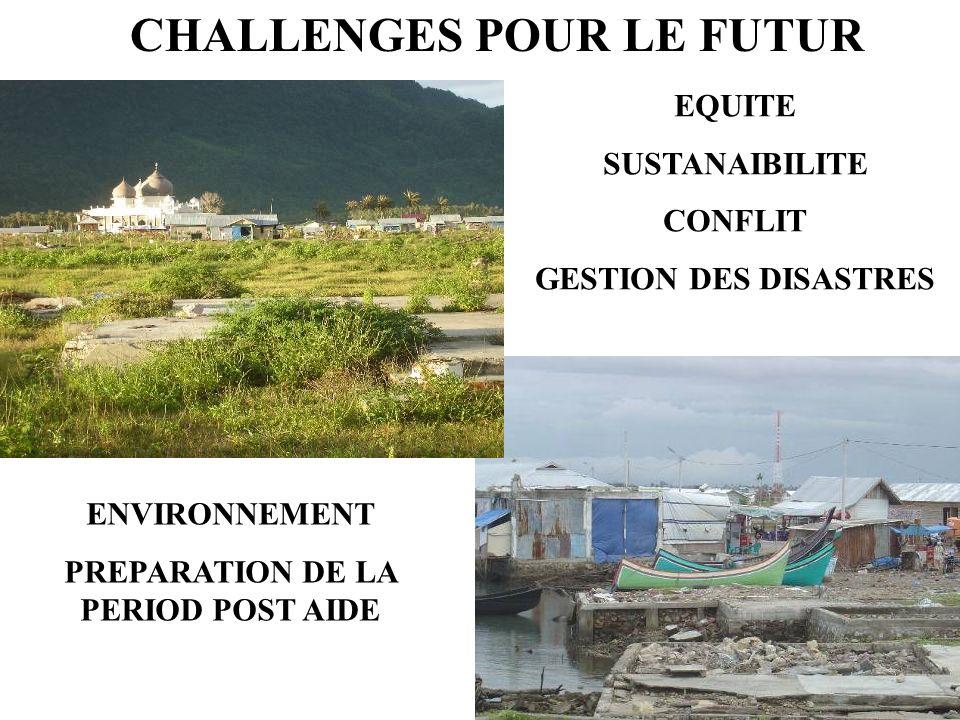 CHALLENGES POUR LE FUTUR EQUITE SUSTANAIBILITE CONFLIT GESTION DES DISASTRES ENVIRONNEMENT PREPARATION DE LA PERIOD POST AIDE