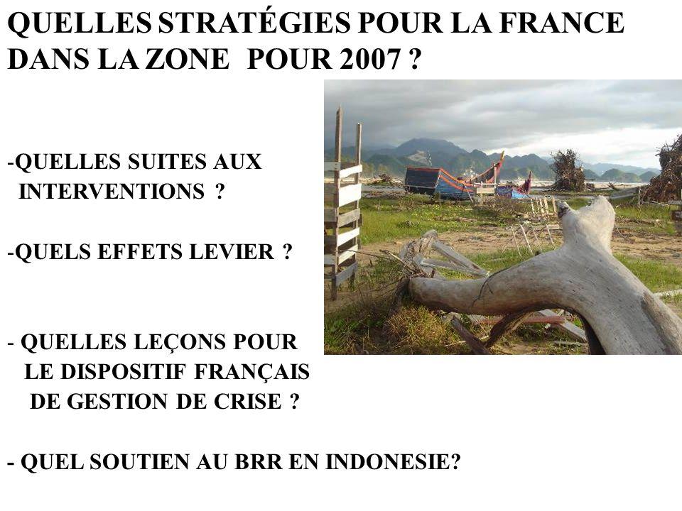 QUELLES STRATÉGIES POUR LA FRANCE DANS LA ZONE POUR 2007 ? -QUELLES SUITES AUX INTERVENTIONS ? -QUELS EFFETS LEVIER ? - QUELLES LEÇONS POUR LE DISPOSI