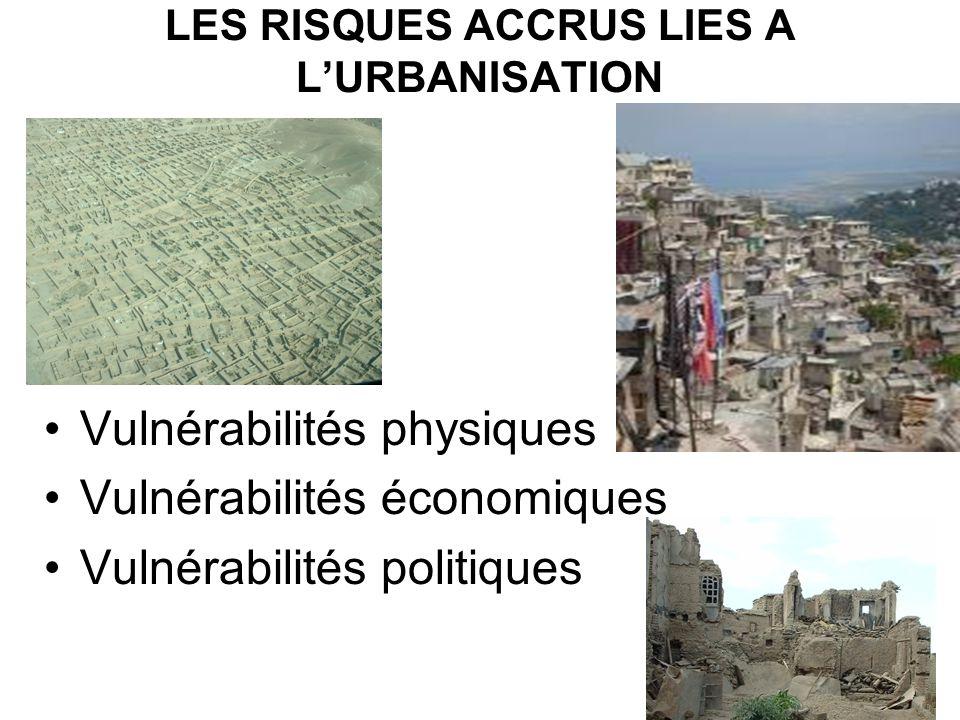LES RISQUES ACCRUS LIES A LURBANISATION Vulnérabilités physiques Vulnérabilités économiques Vulnérabilités politiques