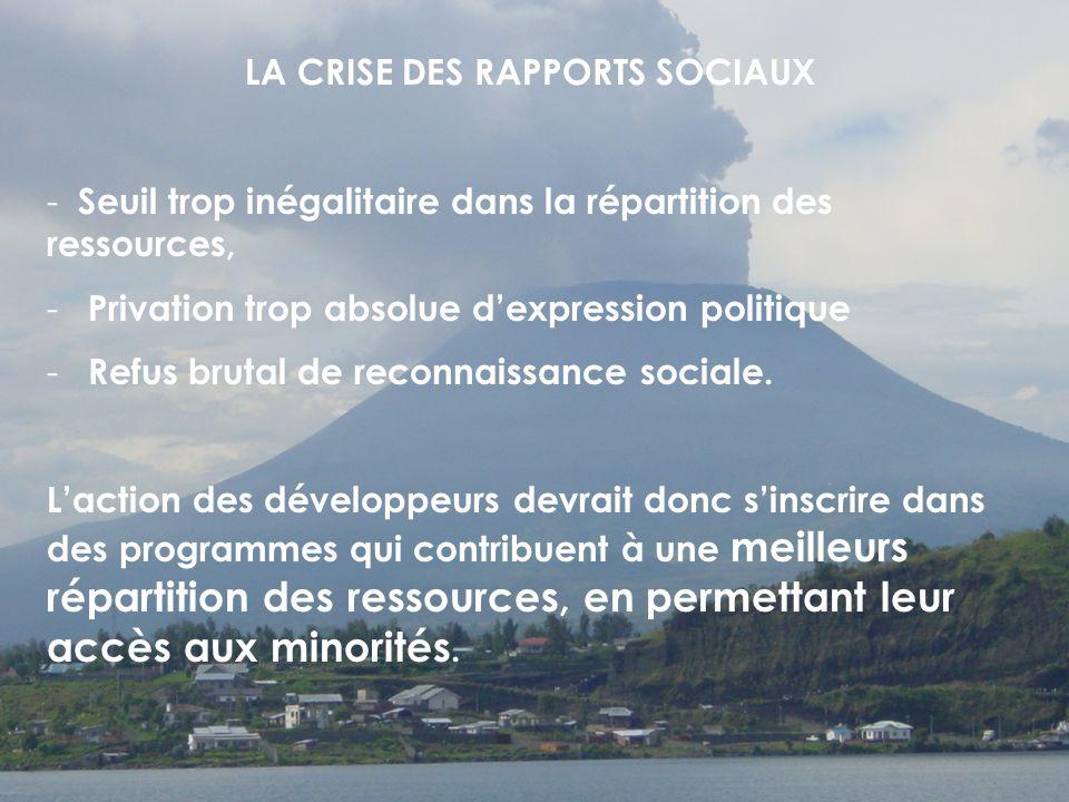 LA CRISE DES RAPPORTS SOCIAUX - Seuil trop inégalitaire dans la répartition des ressources, - Privation trop absolue dexpression politique - Refus brutal de reconnaissance sociale.