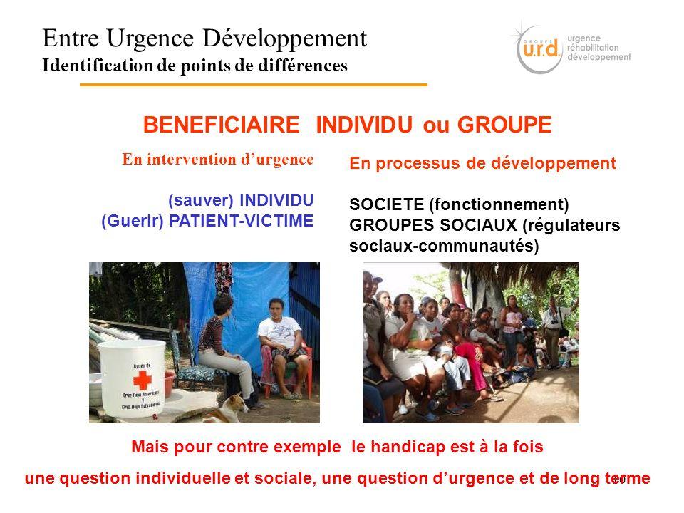 10 Entre Urgence Développement Identification de points de différences BENEFICIAIRE INDIVIDU ou GROUPE En intervention durgence (sauver) INDIVIDU (Gue