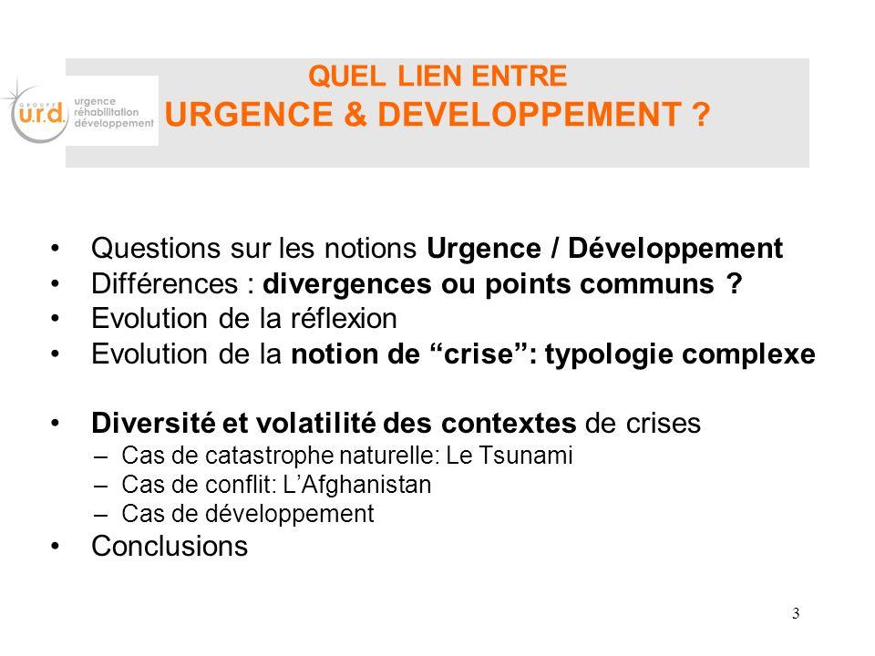 QUEL LIEN ENTRE URGENCE & DEVELOPPEMENT ? Questions sur les notions Urgence / Développement Différences : divergences ou points communs ? Evolution de