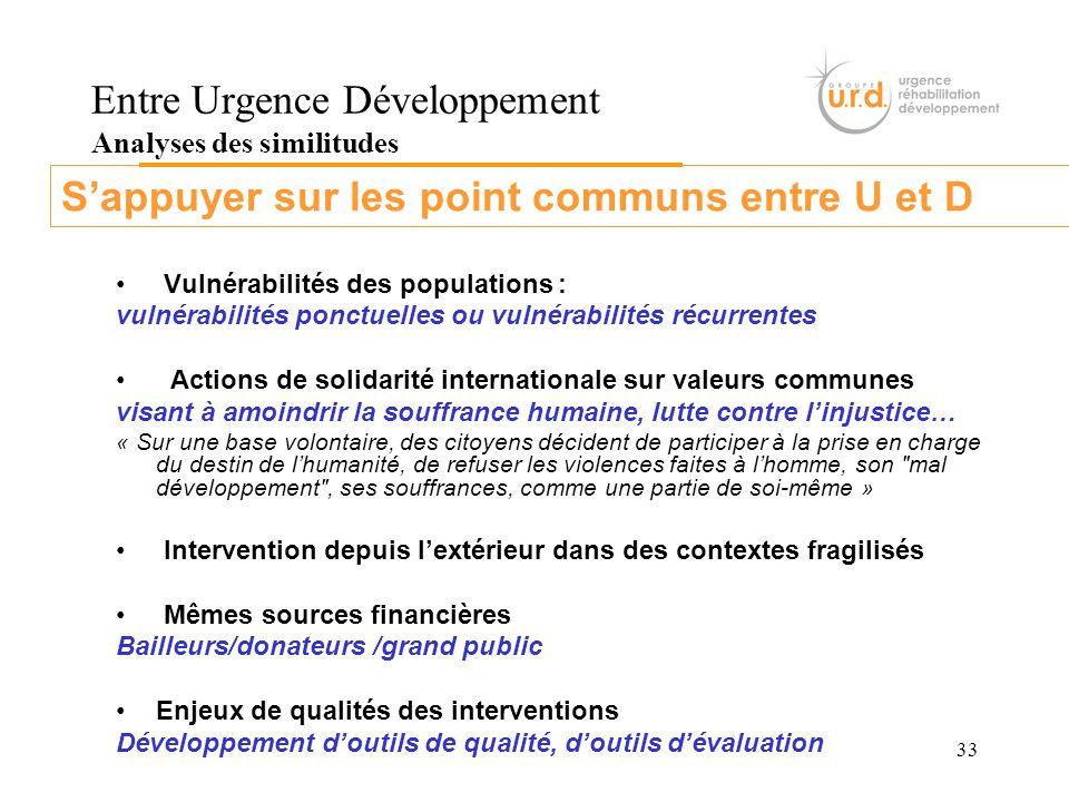 33 Entre Urgence Développement Analyses des similitudes Vulnérabilités des populations : vulnérabilités ponctuelles ou vulnérabilités récurrentes Acti