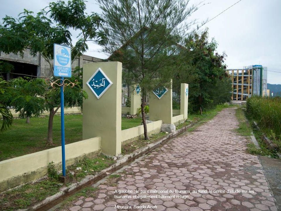 A gauche : le parc mémorial du tsunami, au fond: le centre détude sur les tsunamis et également bâtiment refuge. Meuraxa, Banda Aceh