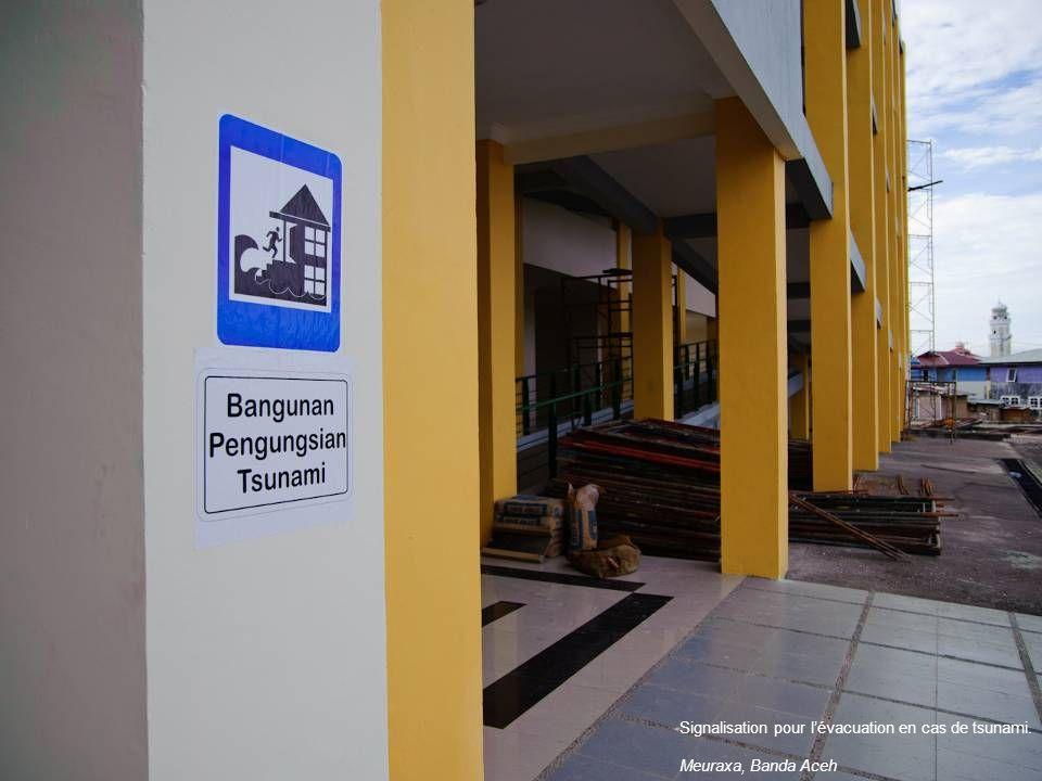 Signalisation pour lévacuation en cas de tsunami. Meuraxa, Banda Aceh