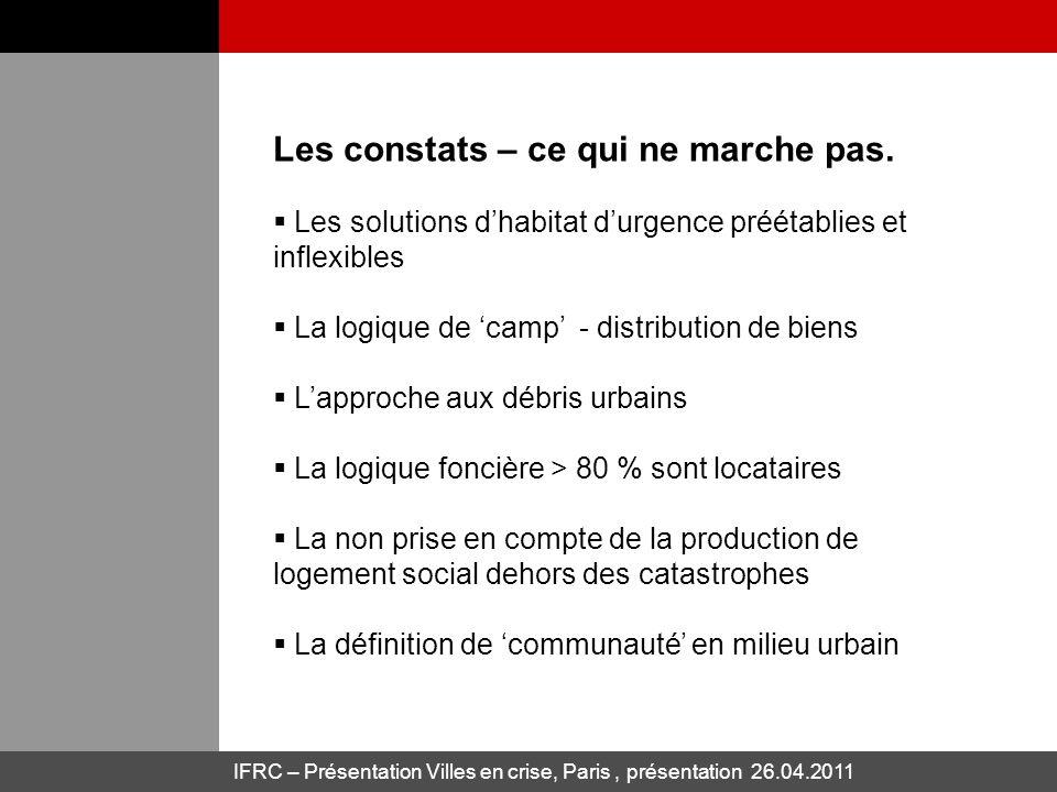IFRC – Présentation Villes en crise, Paris, présentation 26.04.2011 Les constats – ce qui ne marche pas. Les solutions dhabitat durgence préétablies e