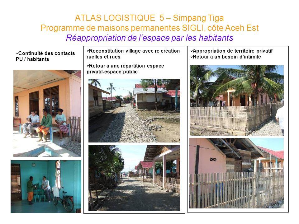 Reconstitution village avec re création ruelles et rues Retour à une répartition espace privatif-espace public Appropriation de territoire privatif Re
