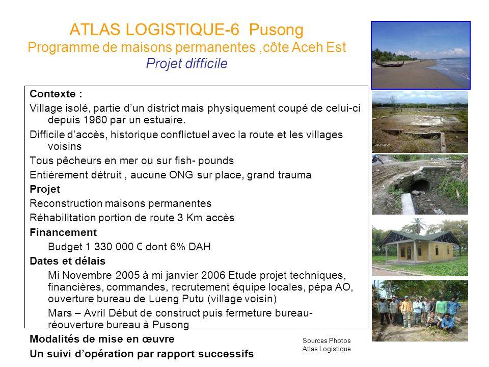 ATLAS LOGISTIQUE-6 Pusong Programme de maisons permanentes,côte Aceh Est Projet difficile Contexte : Village isolé, partie dun district mais physiquem