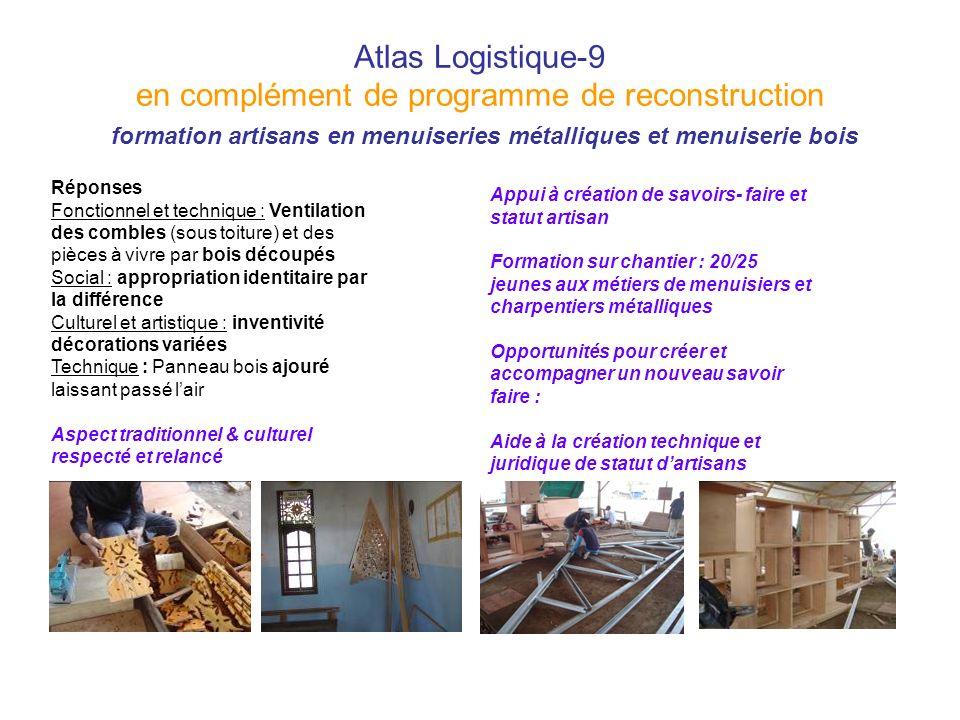 Atlas Logistique-9 en complément de programme de reconstruction formation artisans en menuiseries métalliques et menuiserie bois Réponses Fonctionnel