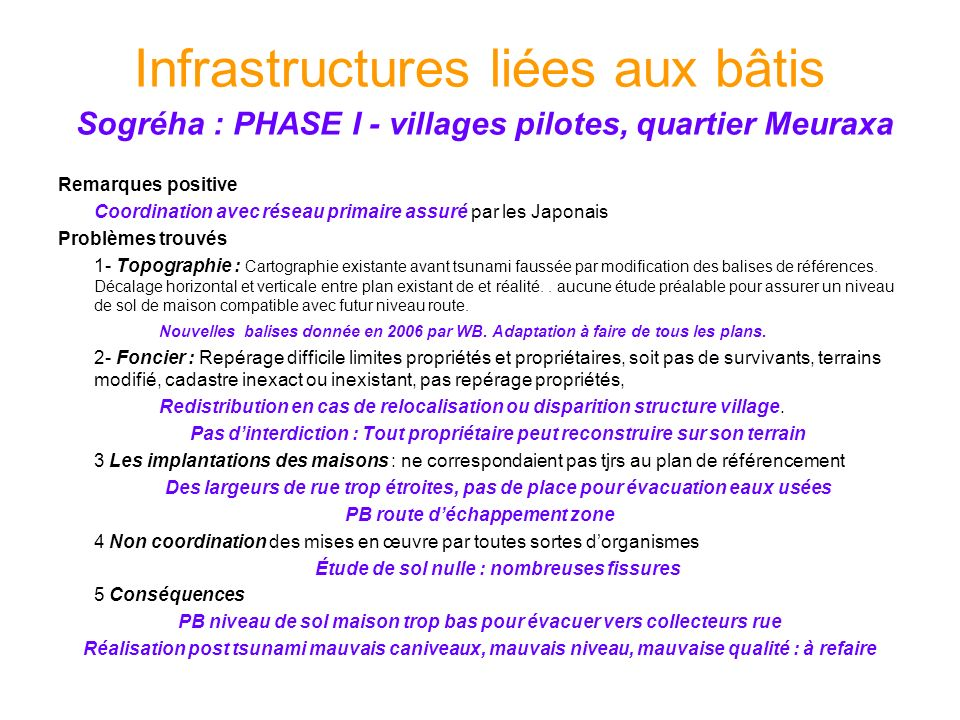 Infrastructures liées aux bâtis Sogréha : PHASE I - villages pilotes, quartier Meuraxa Remarques positive Coordination avec réseau primaire assuré par