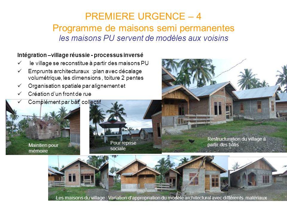 PREMIERE URGENCE – 4 Programme de maisons semi permanentes les maisons PU servent de modèles aux voisins Intégration –village réussie - processus inve