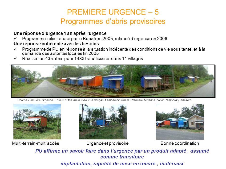 PREMIERE URGENCE – 5 Programmes dabris provisoires Une réponse durgence 1 an après lurgence Programme initial refusé par le Bupati en 2005, relancé du