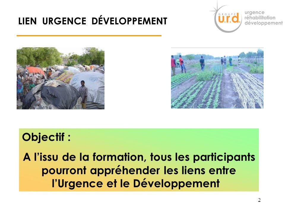 1 Le Lien URGENCE - DEVELOPPEMENT André PRINCE Groupe URD aprince@urd.org