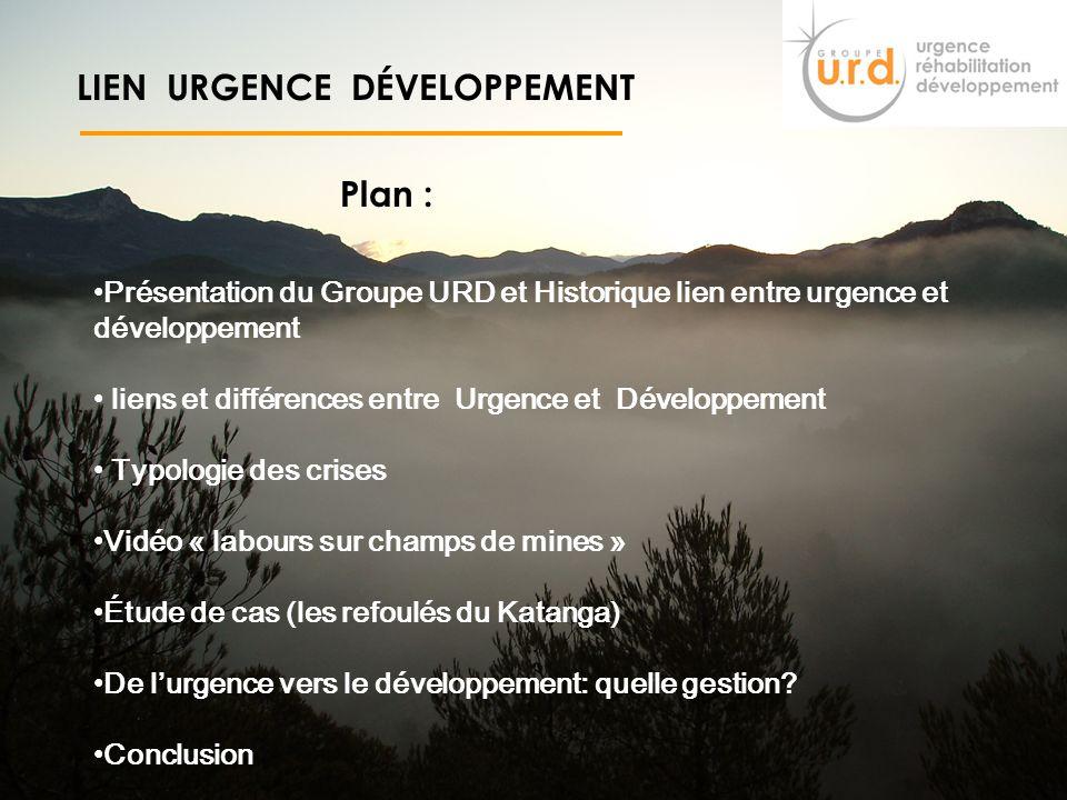 2 LIEN URGENCE DÉVELOPPEMENT Objectif : A lissu de la formation, tous les participants pourront appréhender les liens entre lUrgence et le Développeme