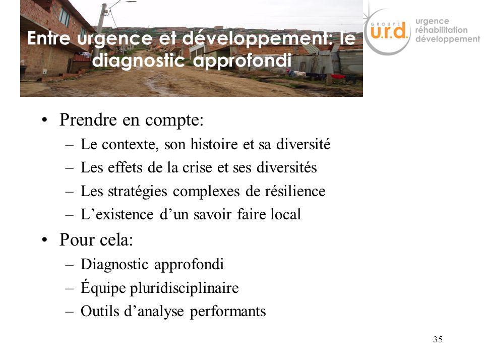 34 Réflexions entre ONG dUrgence et de Développement Recherche de mode daction intelligent dans des contextes mouvants et complexesUrgentistes diagnos
