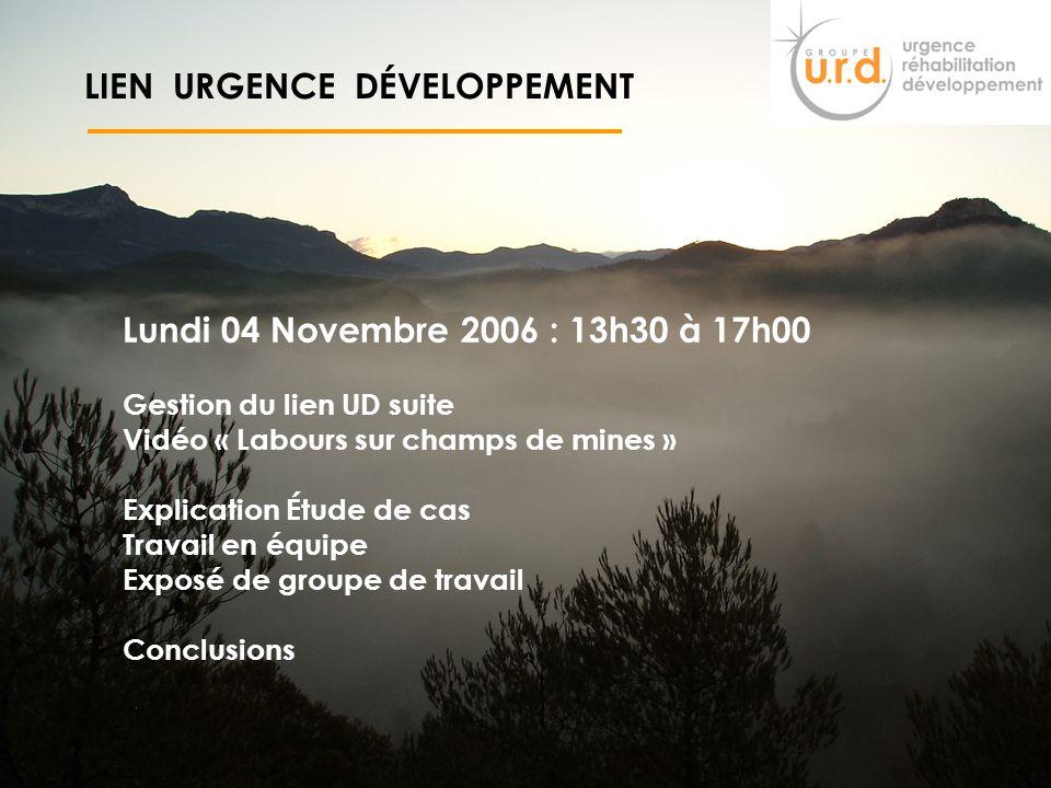 3 LIEN URGENCE DÉVELOPPEMENT Plan : Présentation du Groupe URD et Historique lien entre urgence et développement liens et différences entre Urgence et