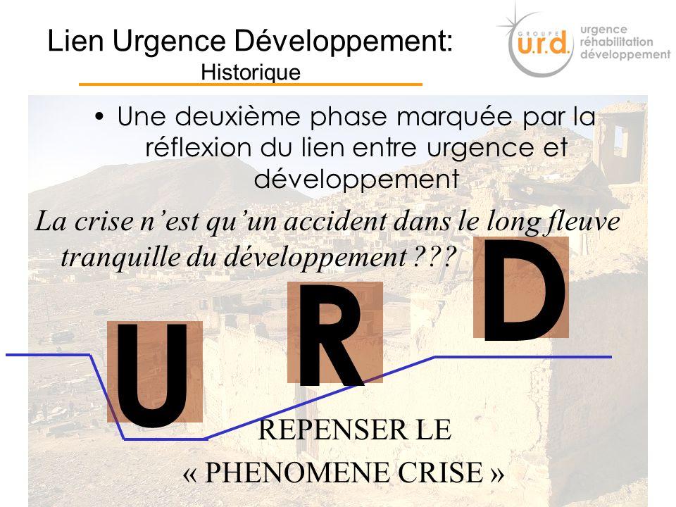 7 Lien Urgence Développement: Historique Deux phases essentielles Une Première phase marquée par deux visions complètement différentes UD R Guerre fro