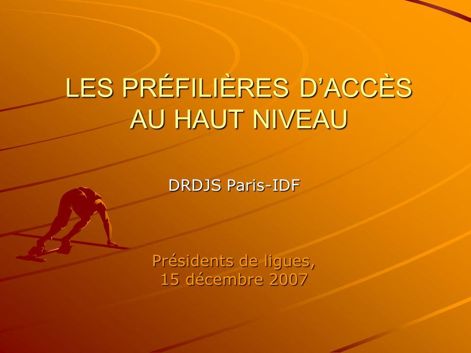LES PRÉFILIÈRES DACCÈS AU HAUT NIVEAU DRDJS Paris-IDF Présidents de ligues, 15 décembre 2007