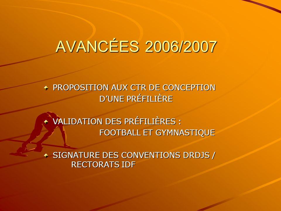 AVANCÉES 2006/2007 PROPOSITION AUX CTR DE CONCEPTION PROPOSITION AUX CTR DE CONCEPTION DUNE PRÉFILIÈRE VALIDATION DES PRÉFILIÈRES : VALIDATION DES PRÉFILIÈRES : FOOTBALL ET GYMNASTIQUE SIGNATURE DES CONVENTIONS DRDJS / RECTORATS IDF SIGNATURE DES CONVENTIONS DRDJS / RECTORATS IDF