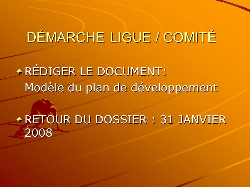 DÉMARCHE LIGUE / COMITÉ RÉDIGER LE DOCUMENT: Modèle du plan de développement RETOUR DU DOSSIER : 31 JANVIER 2008
