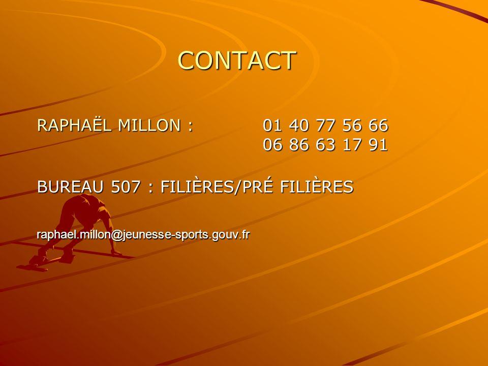 CONTACT RAPHAËL MILLON : 01 40 77 56 66 06 86 63 17 91 BUREAU 507 : FILIÈRES/PRÉ FILIÈRES raphael.millon@jeunesse-sports.gouv.fr