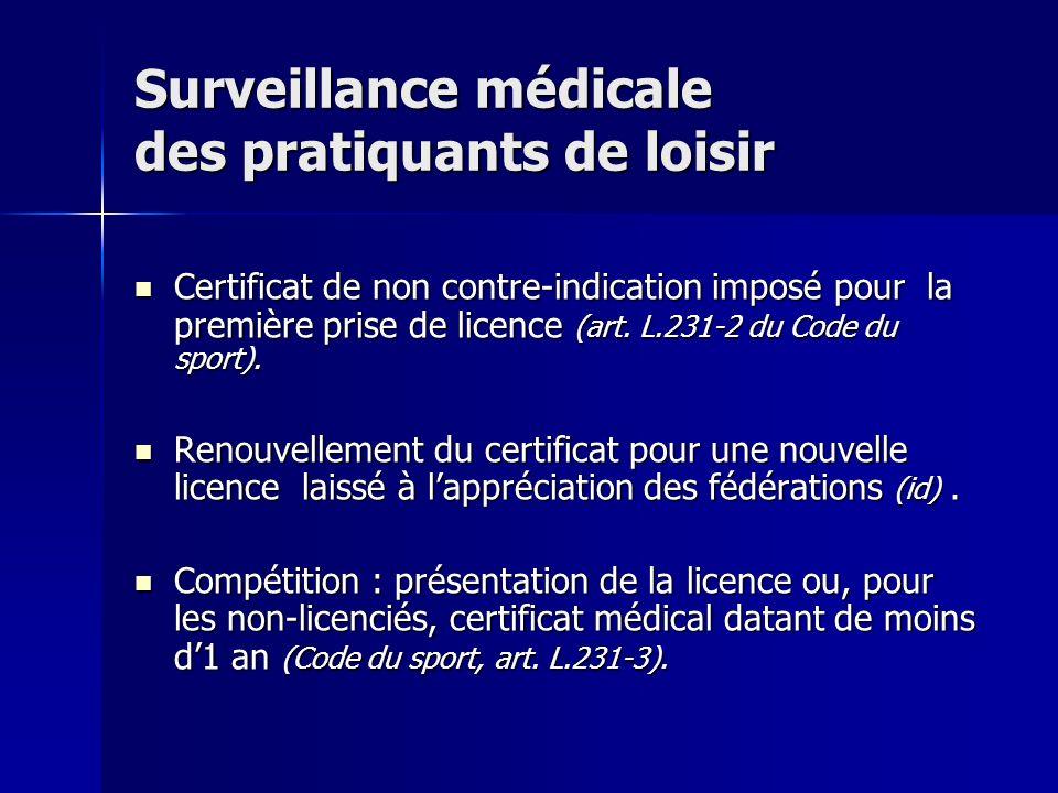 Surveillance médicale des pratiquants de loisir Certificat de non contre-indication imposé pour la première prise de licence (art. L.231-2 du Code du