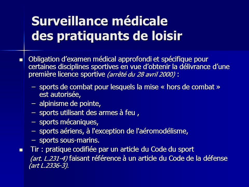 Surveillance médicale des pratiquants de loisir Obligation dexamen médical approfondi et spécifique pour certaines disciplines sportives en vue dobten