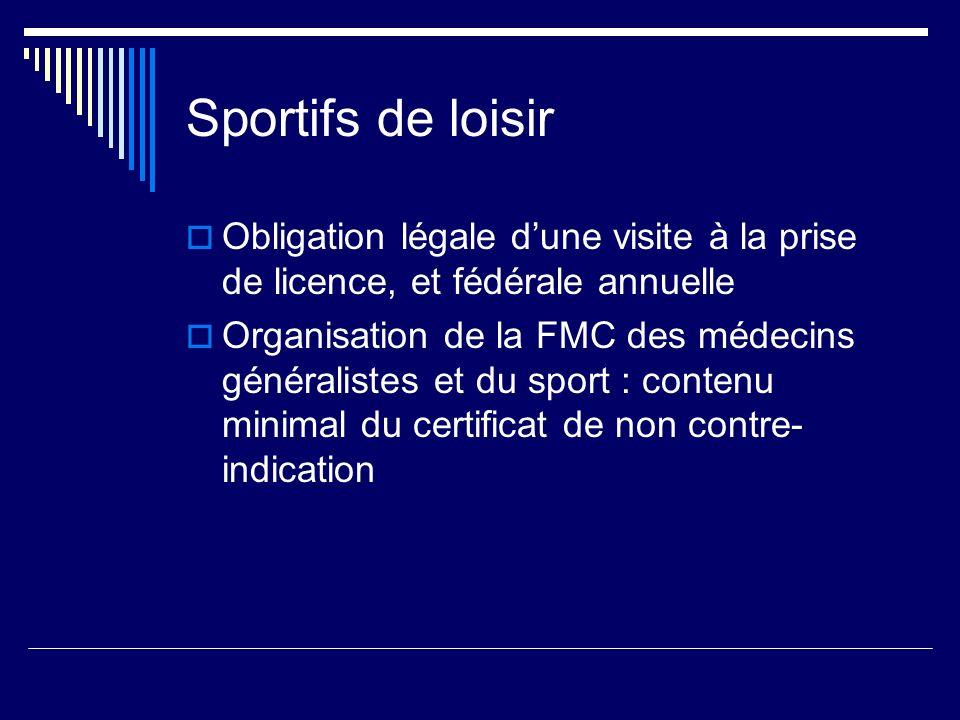 Sportifs de loisir Obligation légale dune visite à la prise de licence, et fédérale annuelle Organisation de la FMC des médecins généralistes et du sport : contenu minimal du certificat de non contre- indication